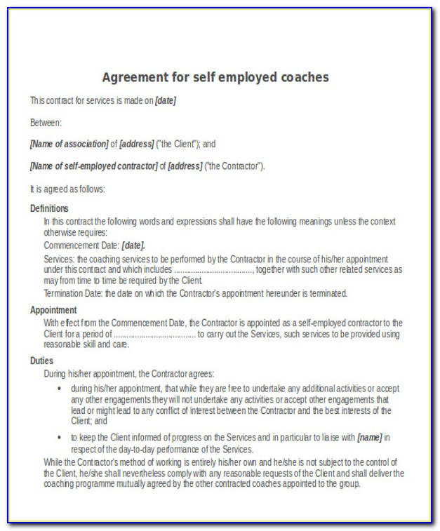 Self Employed Carer Contract Template