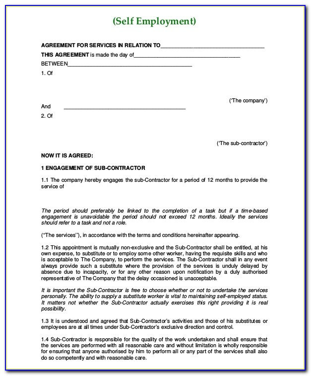 Self Employed Contract Template Free