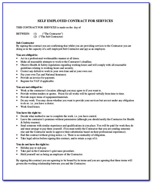 Self Employed Contract Template Word