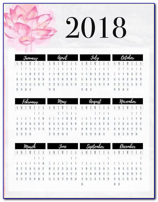 Semester At A Glance Calendar Template
