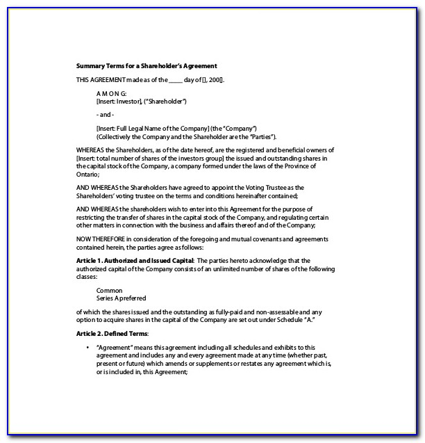 Shareholder Agreement Template Hong Kong