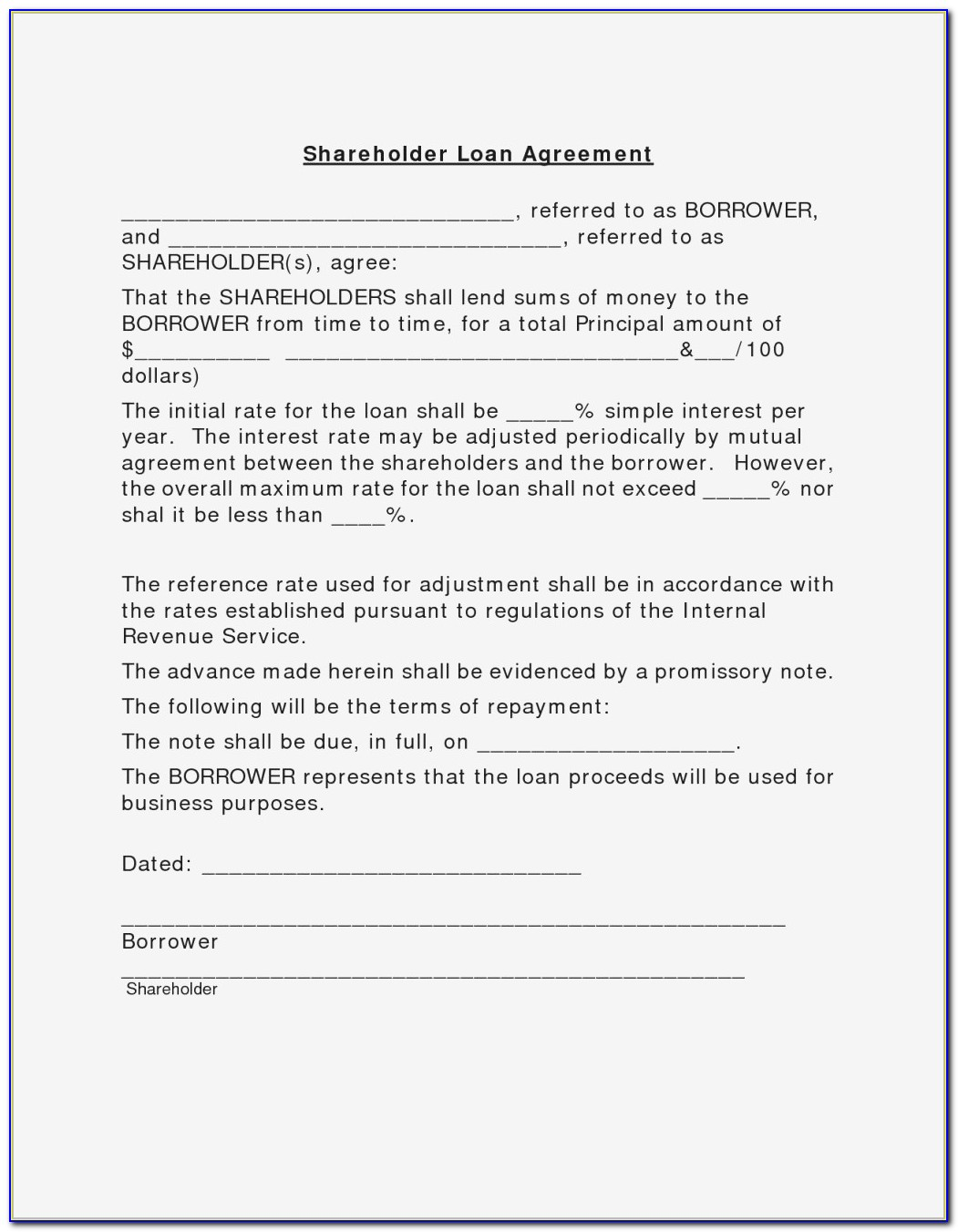 Shareholders Agreement Template Free Uk New Shareholders Agreement For Shareholder Loan Agreement Sample
