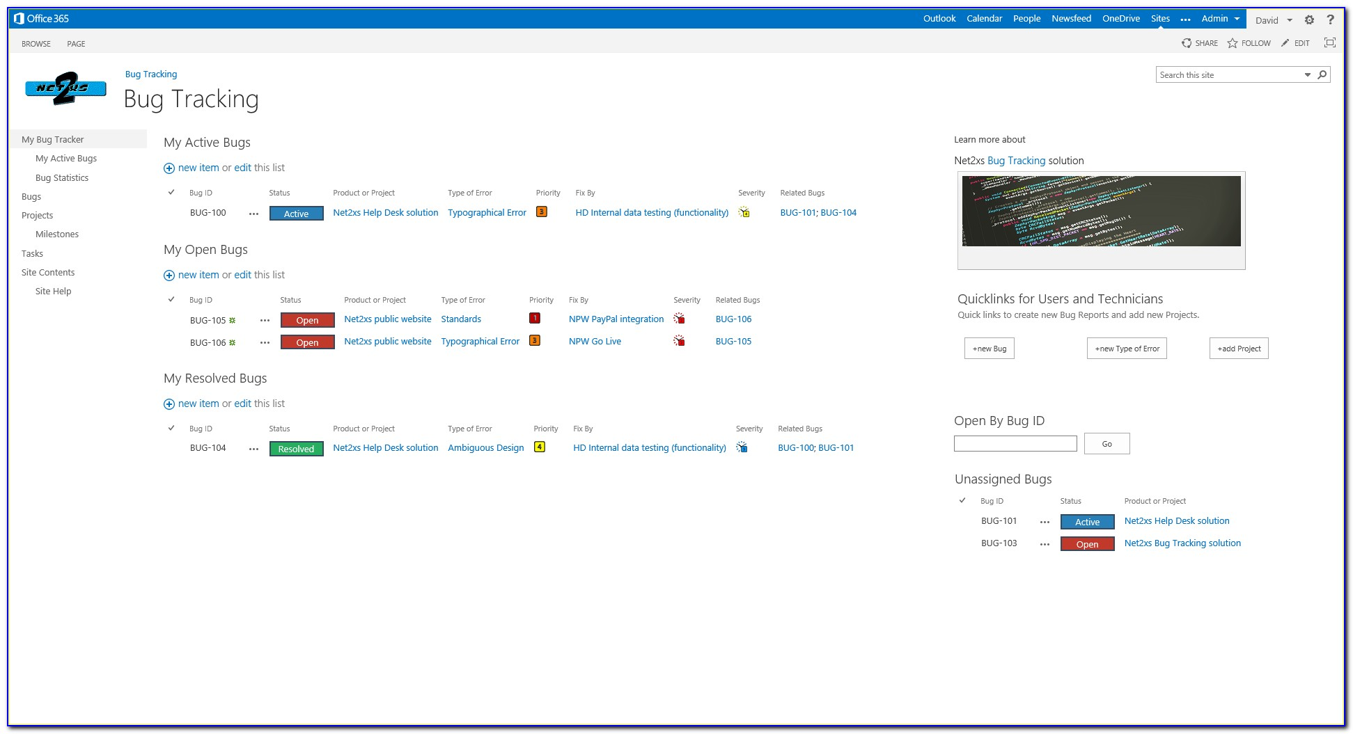 Sharepoint Bug Tracking Template