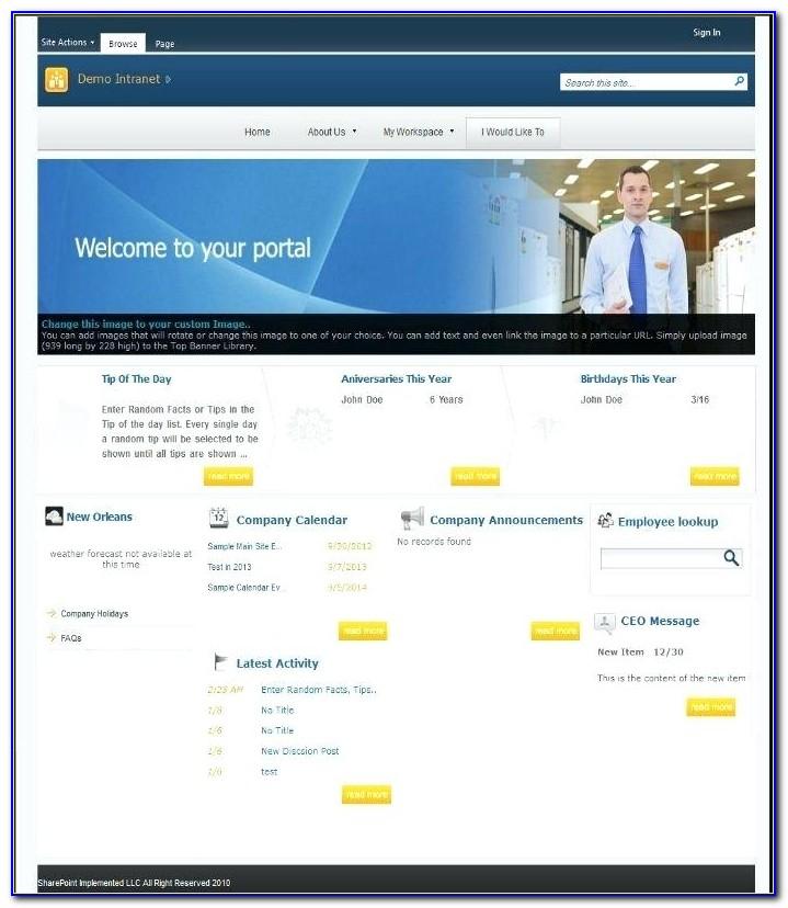 Sharepoint Intranet Portal Templates