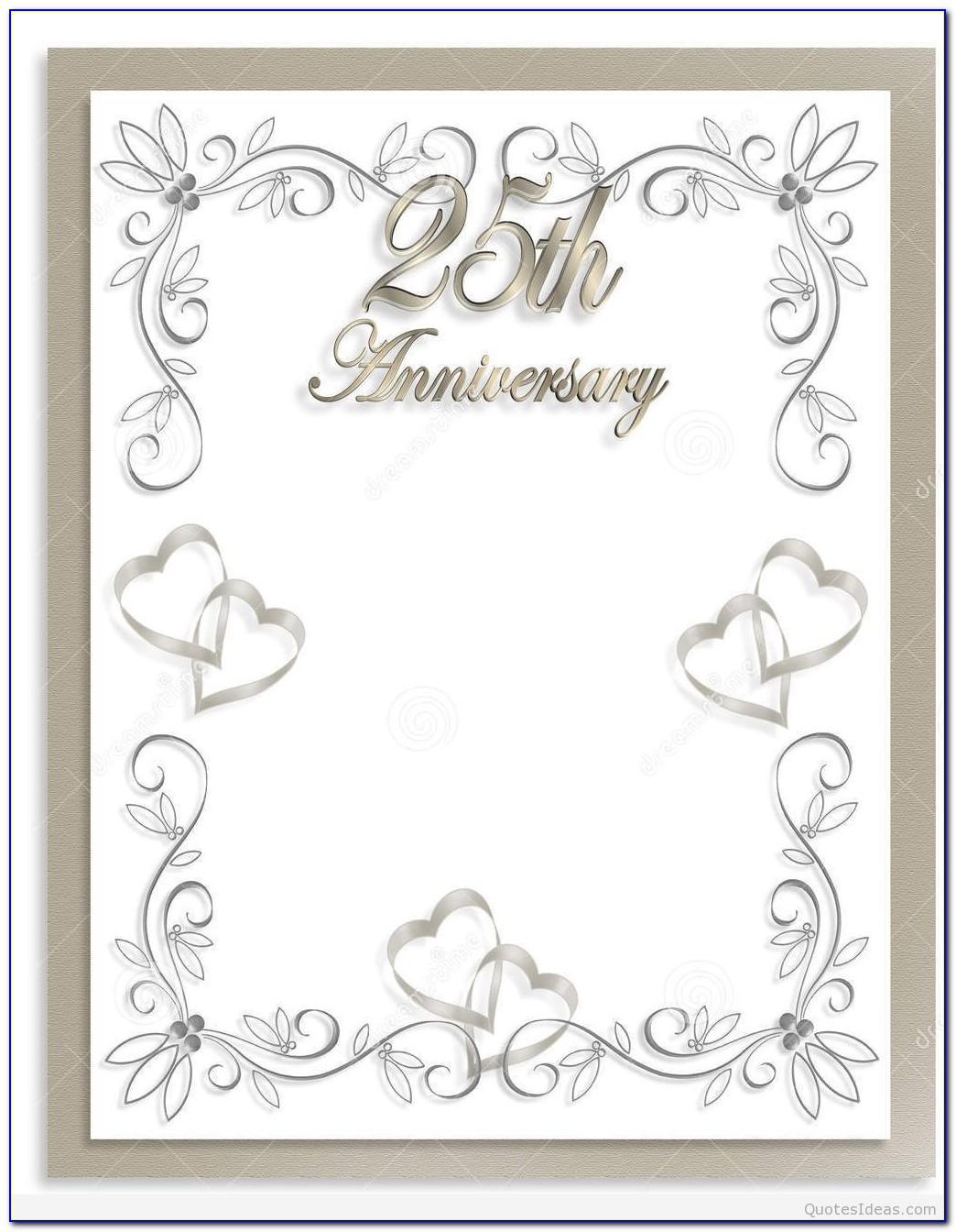 Silver Wedding Anniversary Invitations Templates