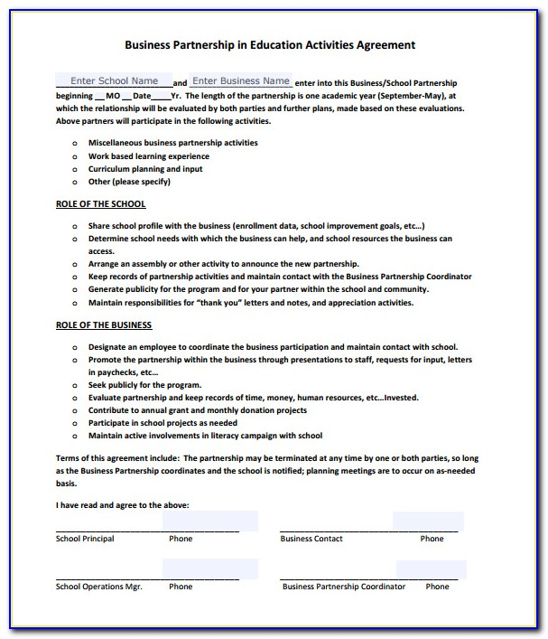 Simple Business Partnership Agreement Template Free