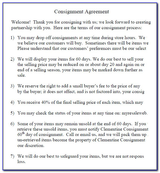 Simple Consignment Stock Agreement Template