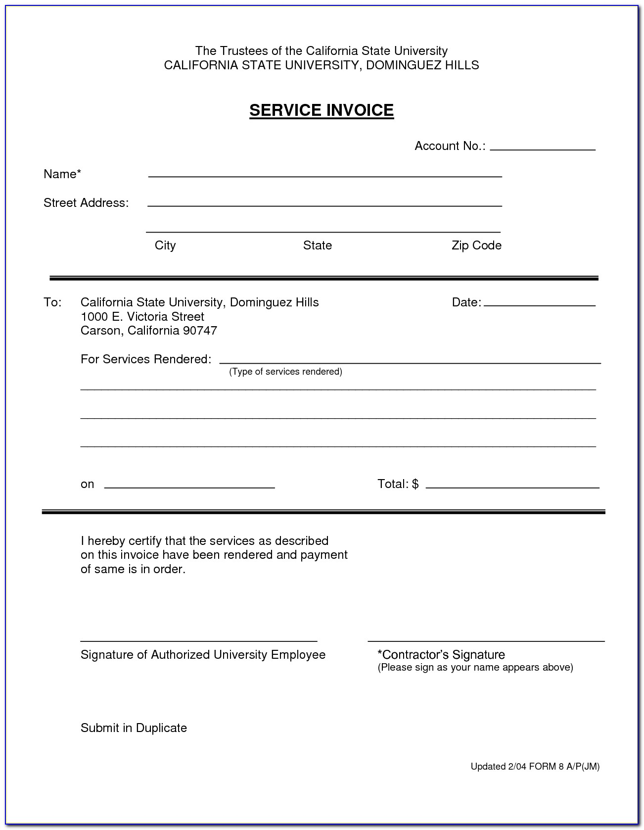 Simple Invoice For Services Rendered