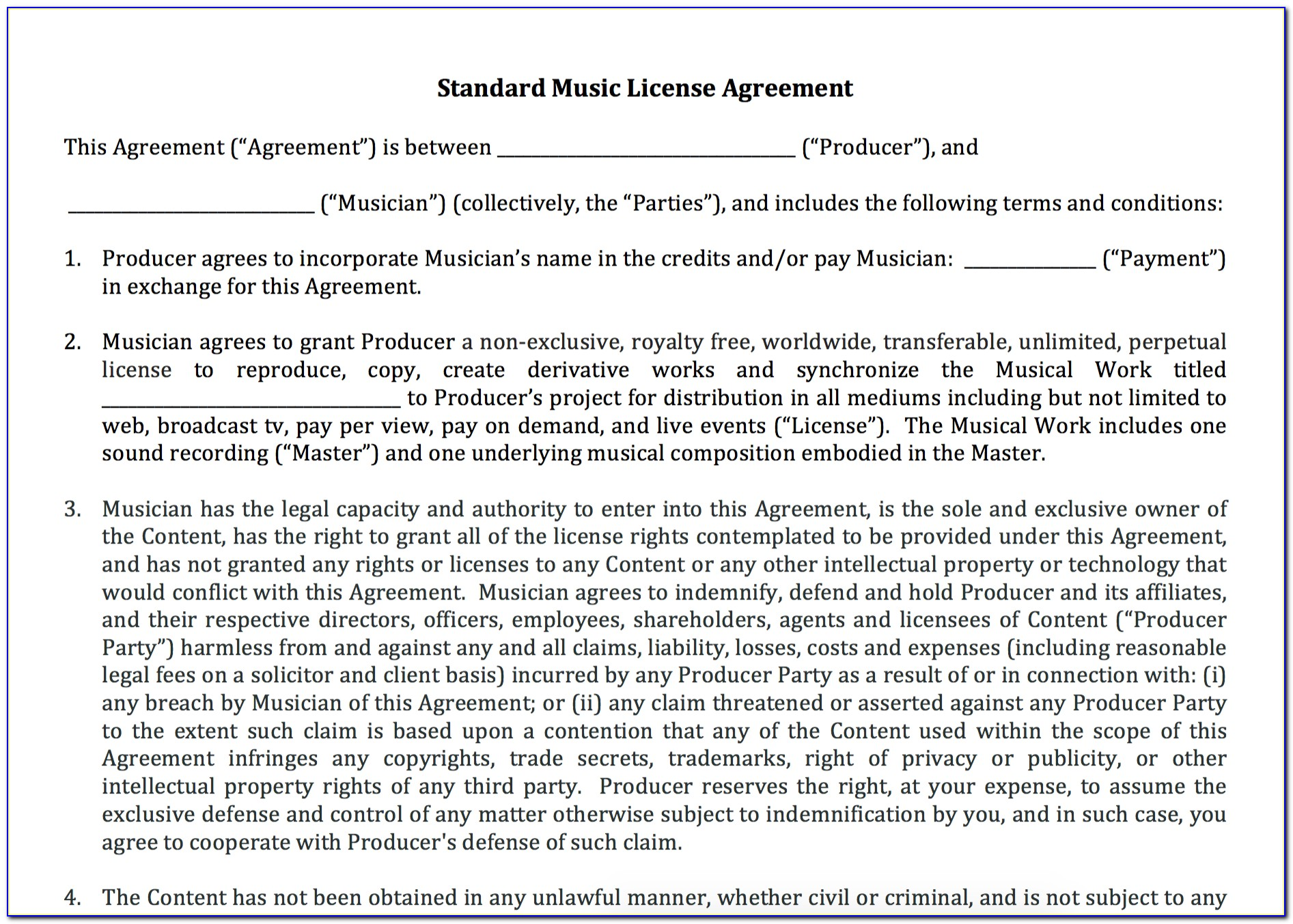 Simple Music License Agreement Template