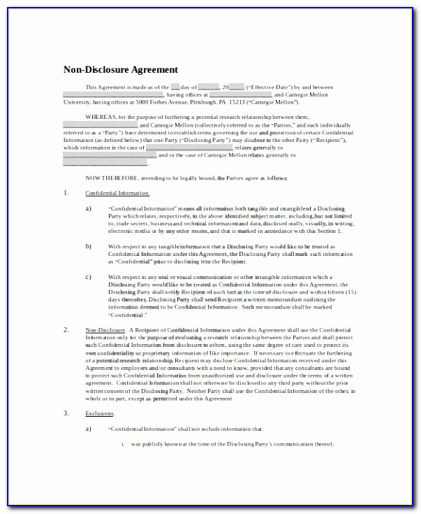 8 Non Disclosure And Confidentiality Agreement Templates ? Free Printable Non Disclosure Non Circumvention Agreement Template New Pdf Word Excel Templates Yauap