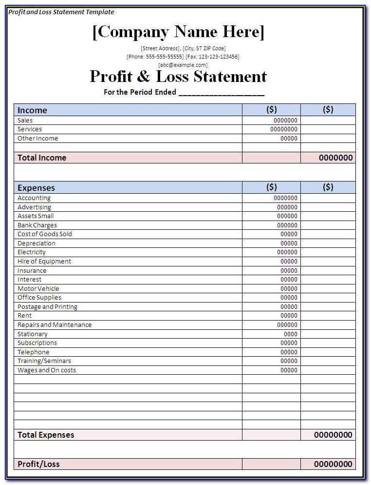 Simple Profit And Loss And Balance Sheet Template