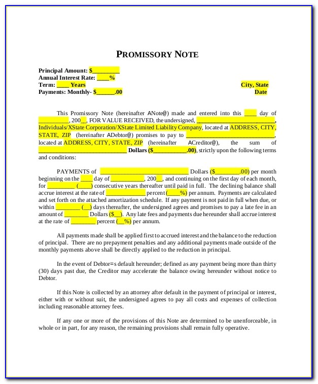 Simple Promissory Note Examples