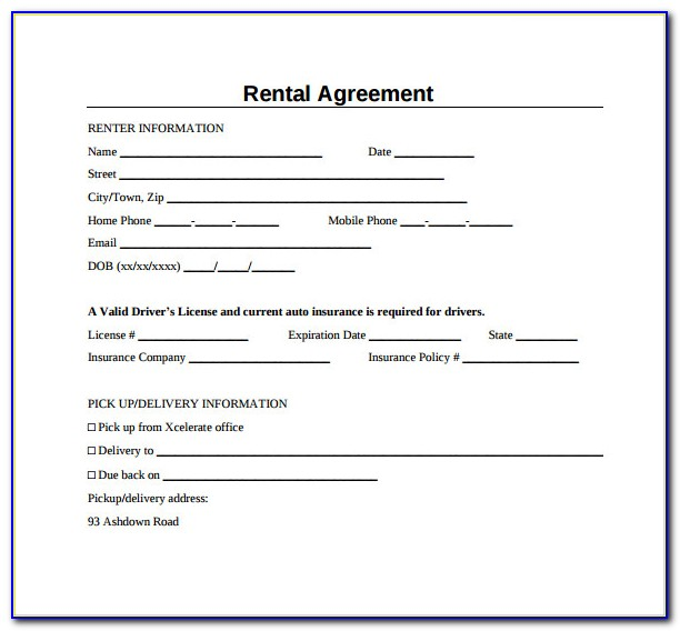 Simple Rental Agreement Template California