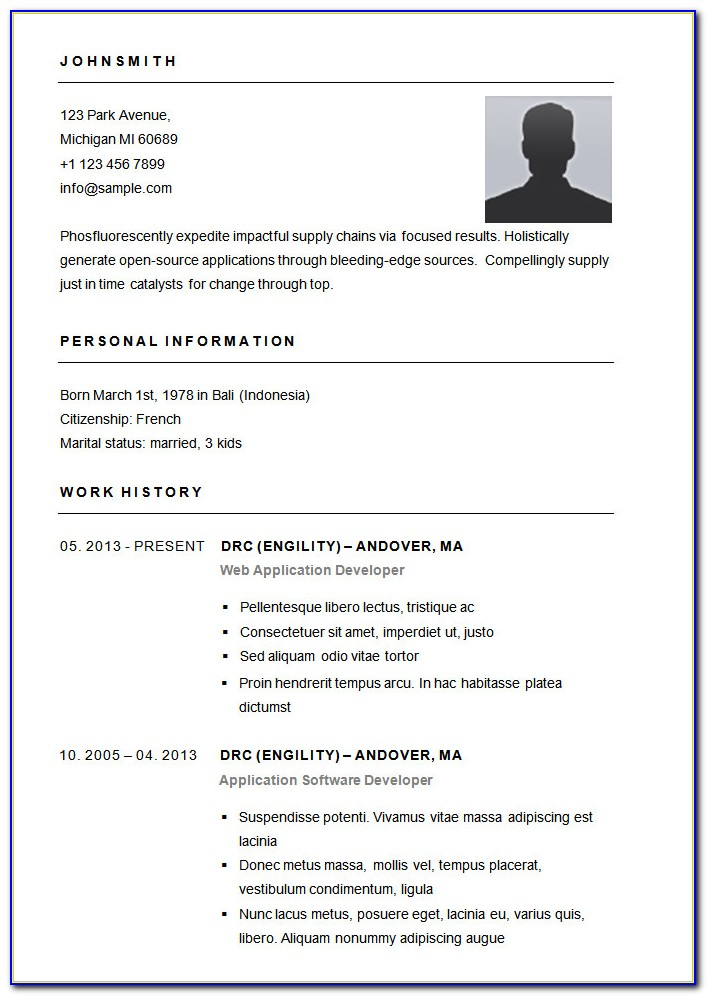 Simple Resume Templates Free Download For Microsoft Word