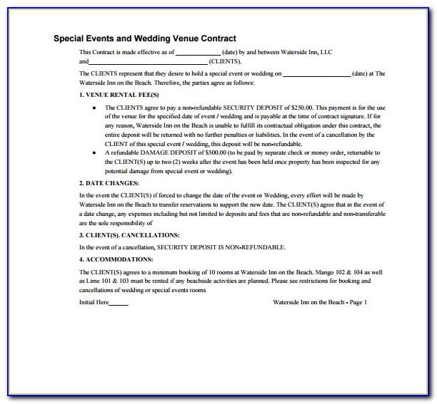 Simple Wedding Venue Contract Template