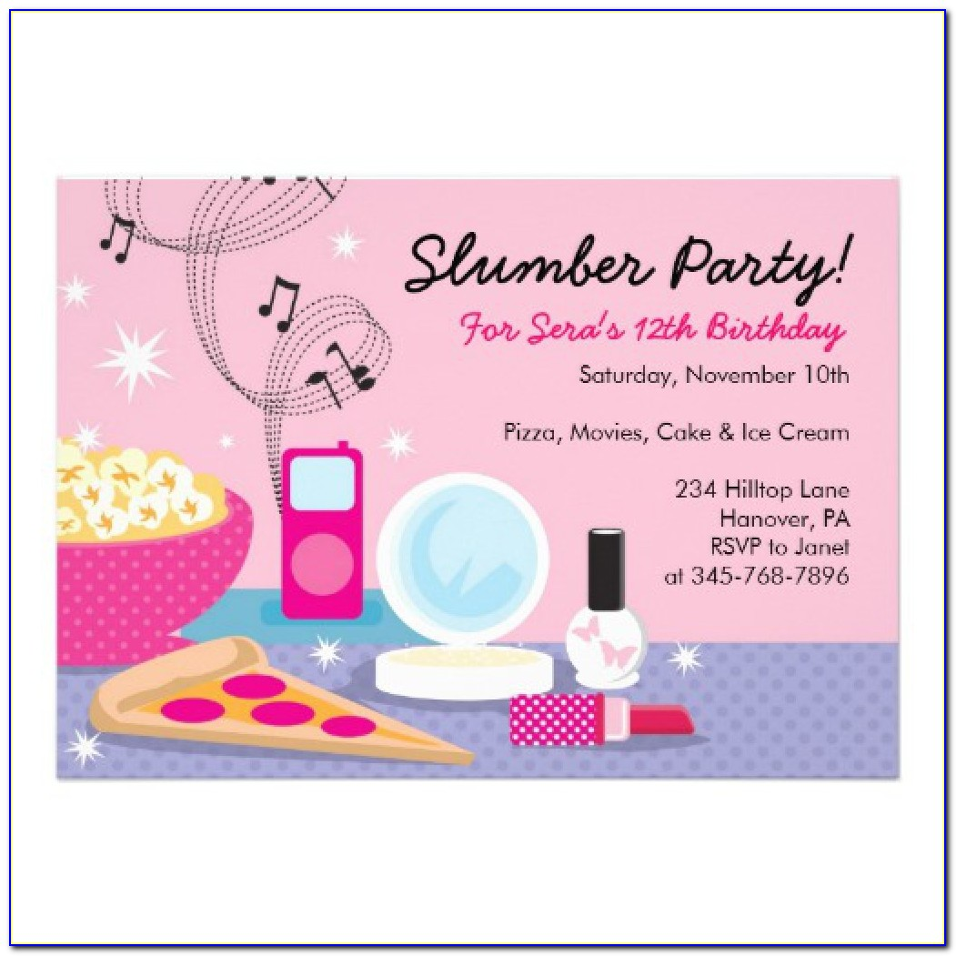 Slumber Party Invitation Free Template