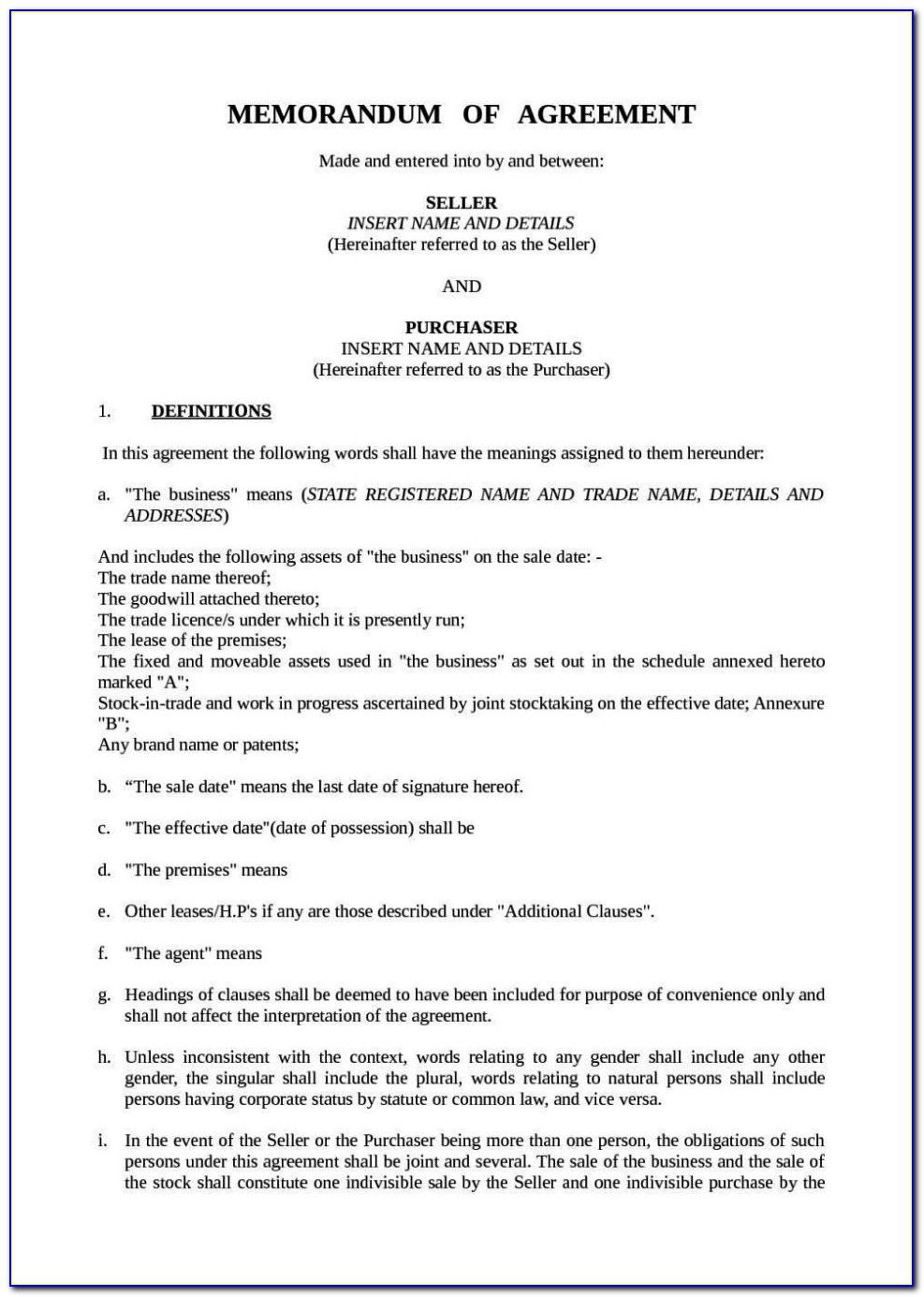 Small Business Purchase Agreement Template