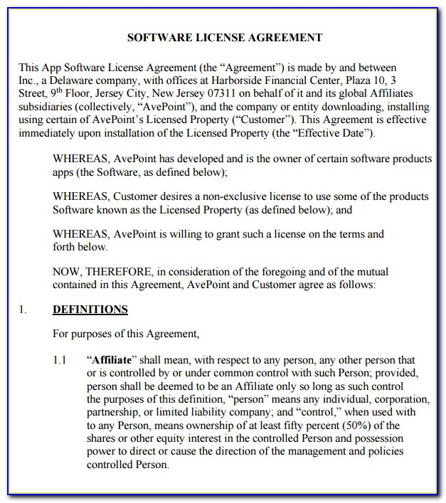 Software License Agreement Template B2b