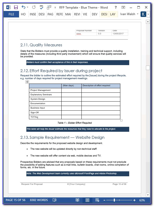 Software Product Proposal Template Word