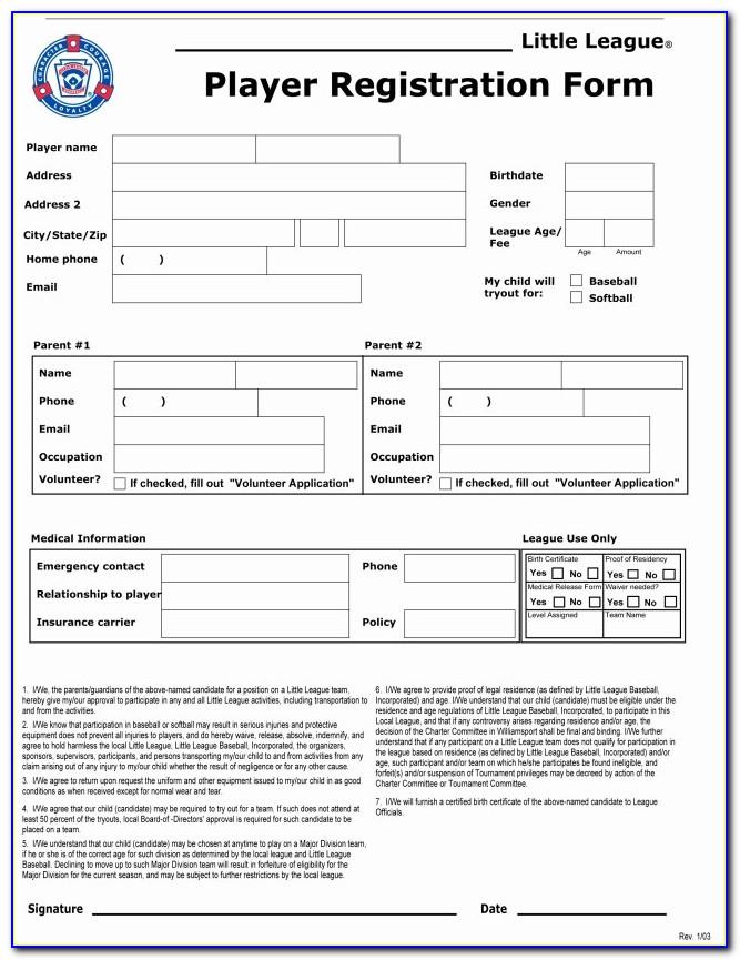 Holtville Little League Free Sports Team Registration Form Template Elegant Doc Xls Letter Best Templates Ayety