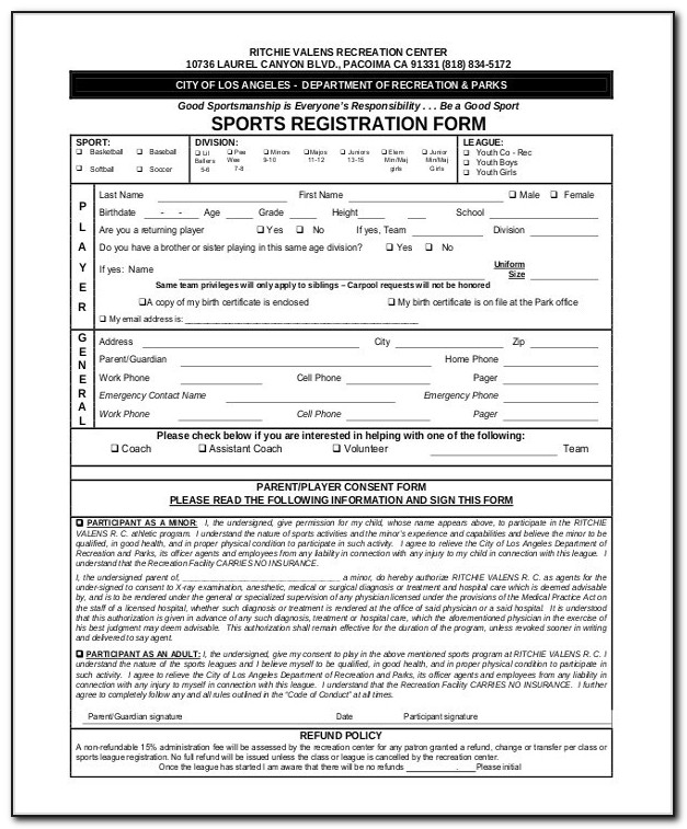 Sports Camp Registration Form Template