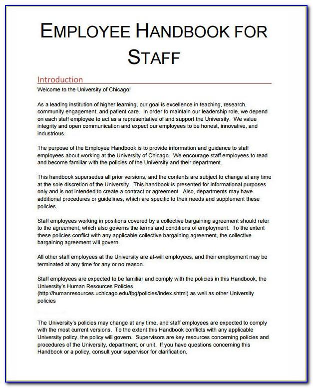Staff Handbook Template Australia