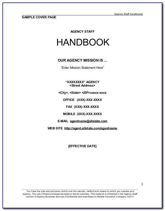 Staff Handbook Template Uk Free