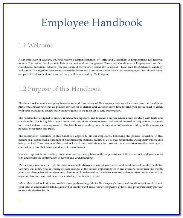 Staff Handbook Template Word