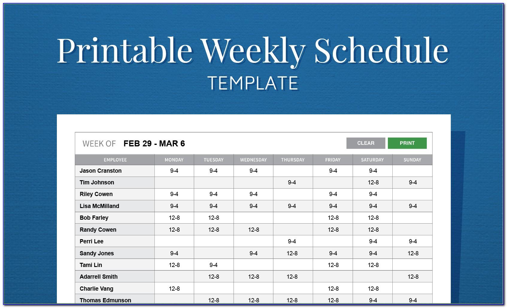 Staff Working Schedule Template
