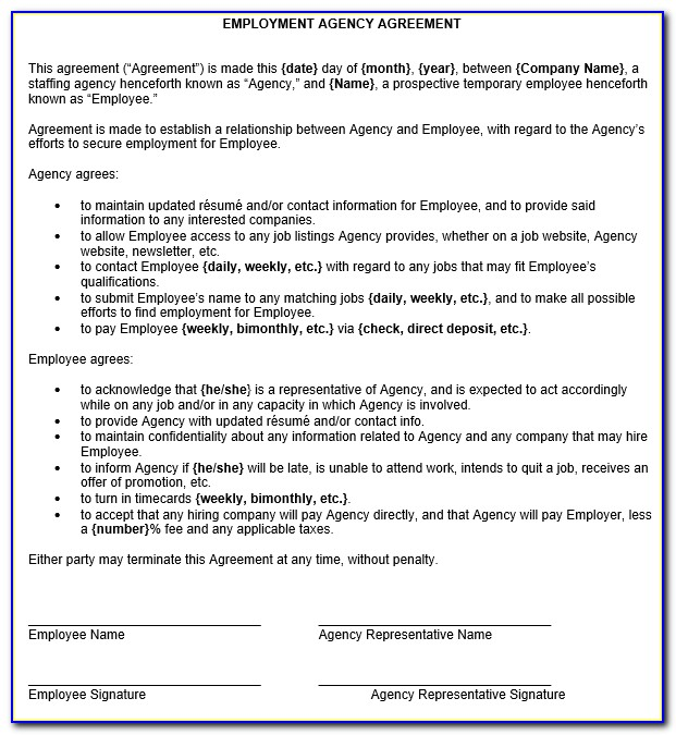 Staffing Agency Contract Template
