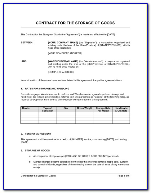 Storage Rental Contract