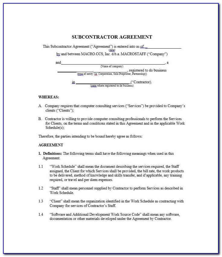 Subcontracting Contract Template Free Download