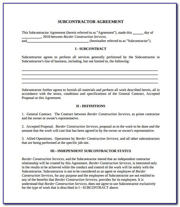 Subcontractor Contract Template Australia