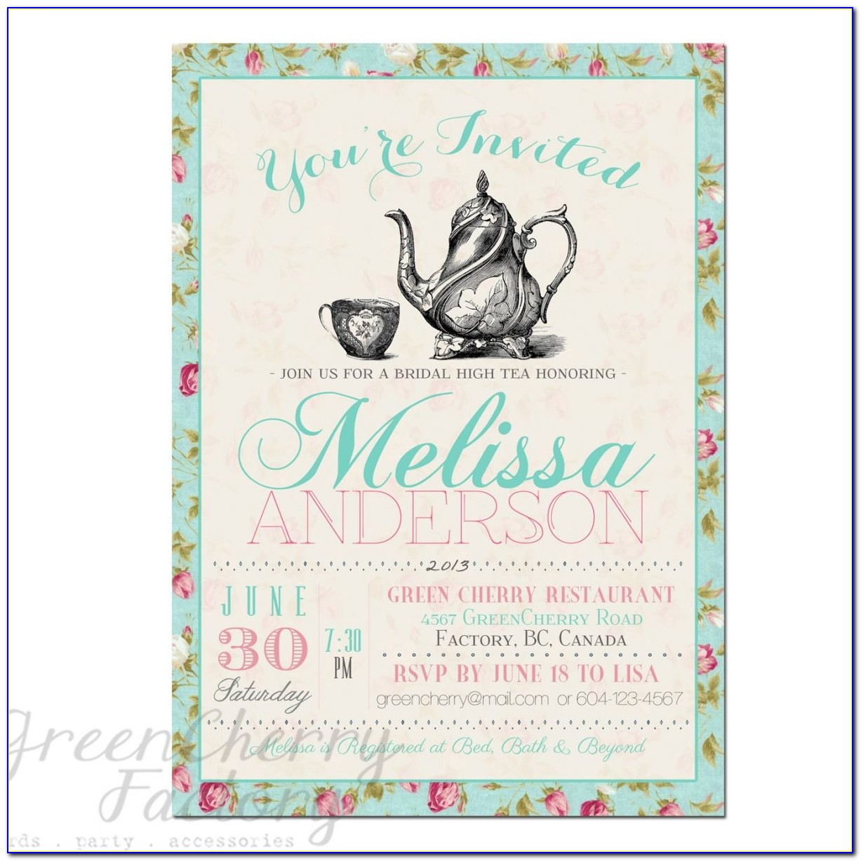 Tea Party Invitations Printable Free