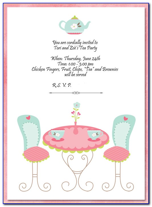 Tea Party Invitations Printable