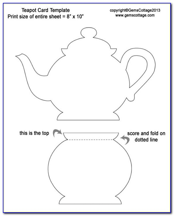 Teapot Card Template Mother's Day
