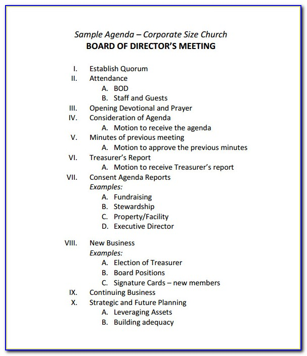 Template For Board Meeting Minutes