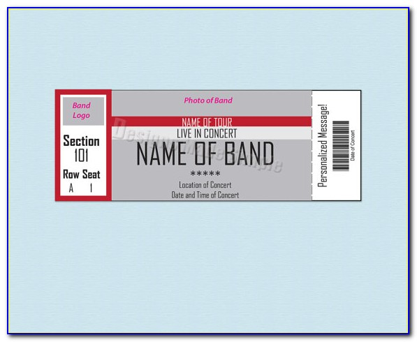 Template For Concert Ticket