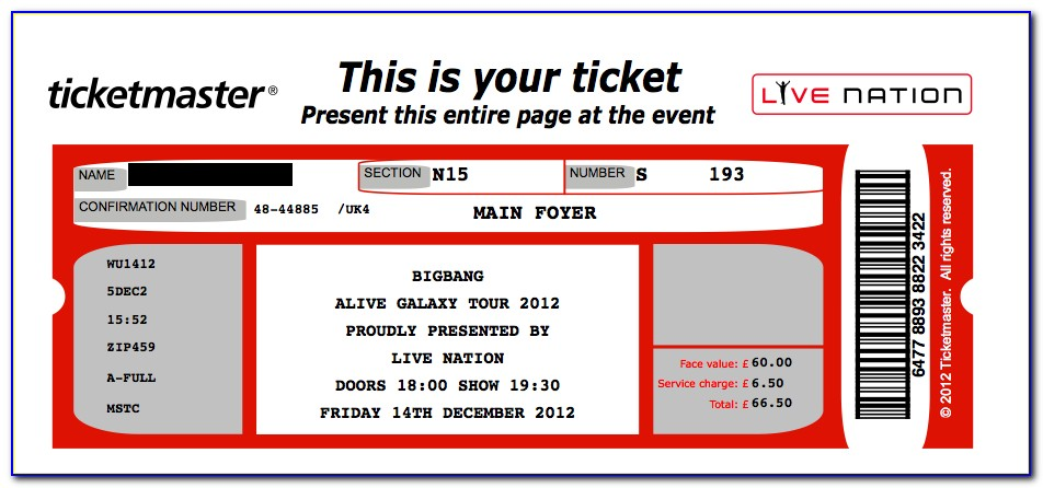 Template For Concert Tickets With Numbers