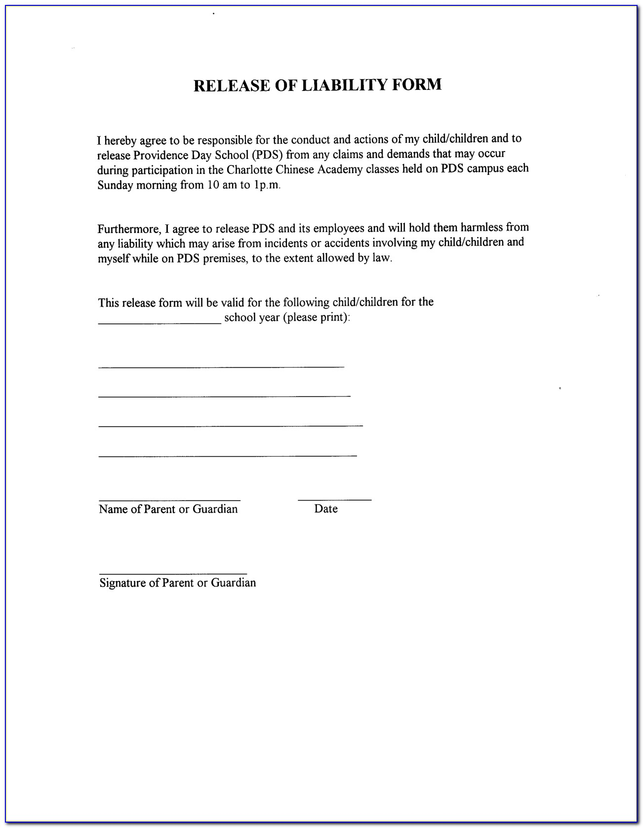 Template For Liability Waiver
