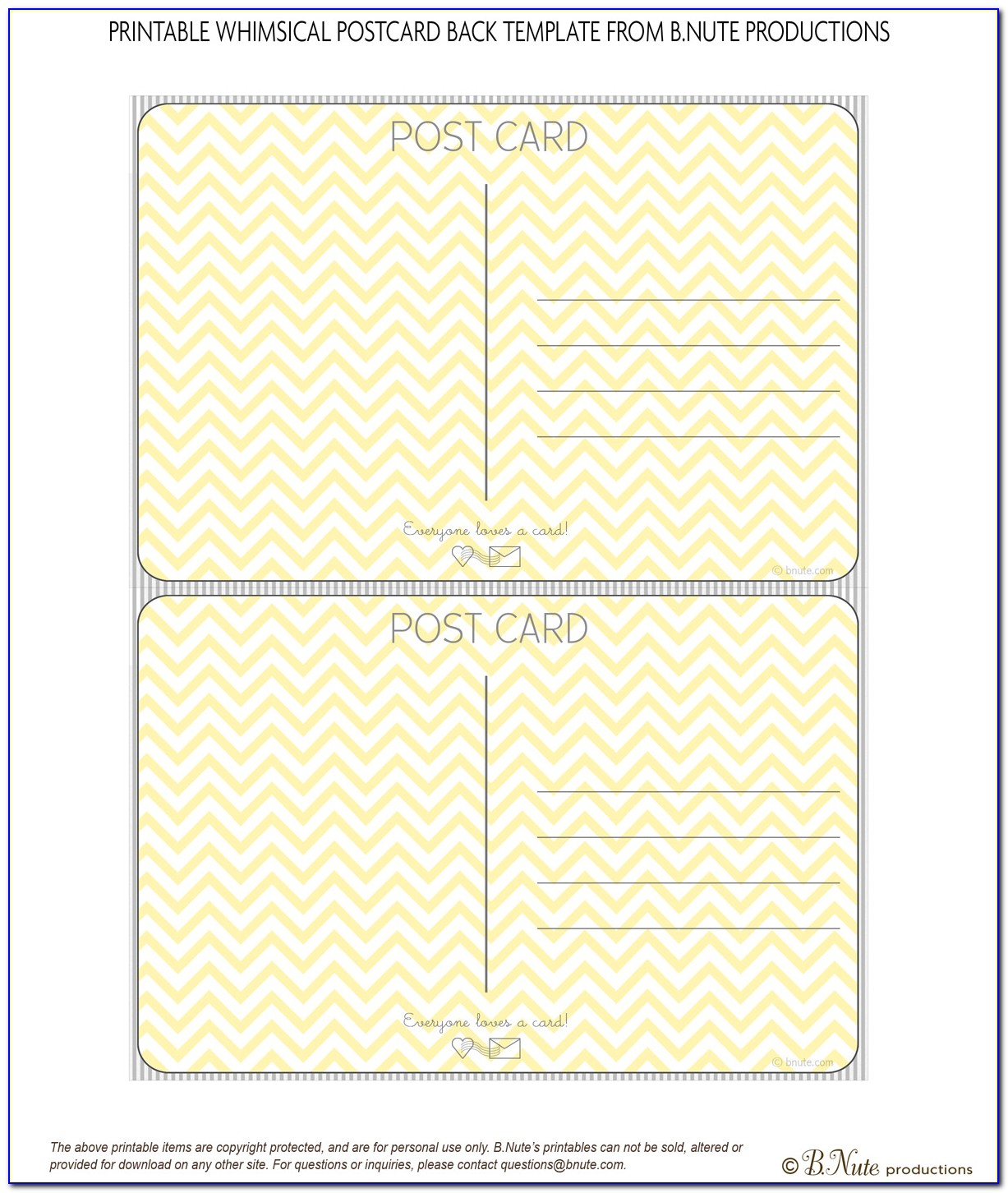 Template For Printing Postcards