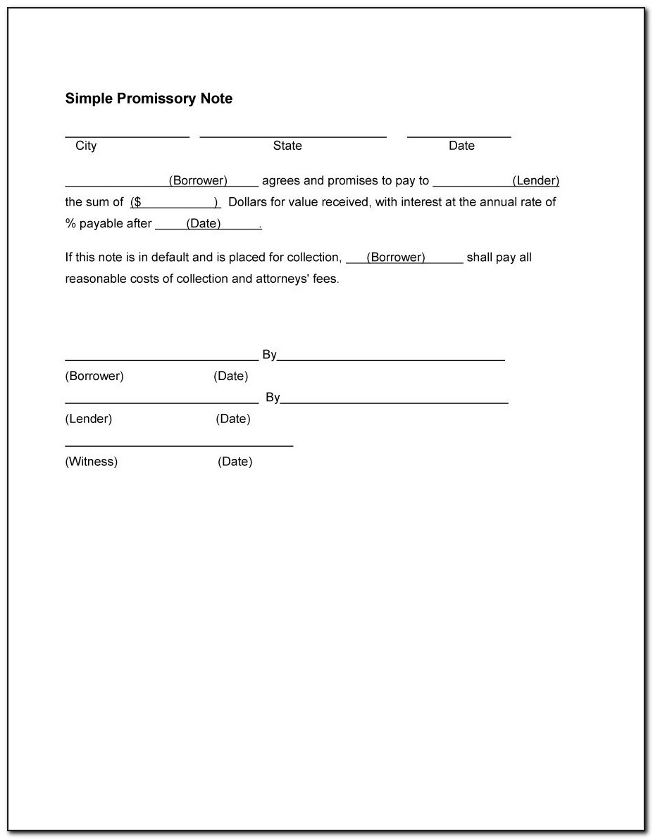Template For Simple Promissory Note