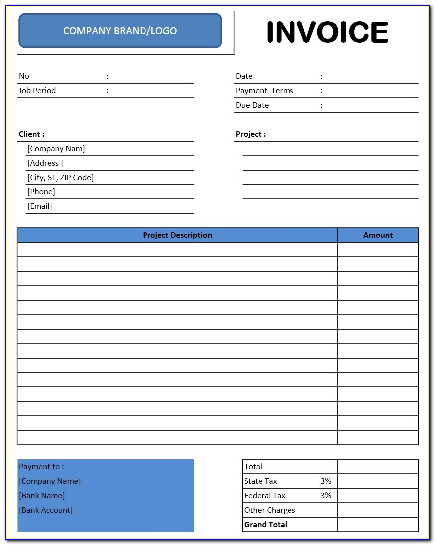 Template For Tax Invoice In Excel