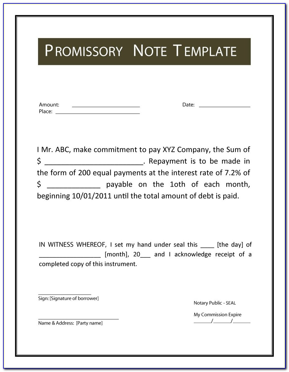 Template Promissory Note Example