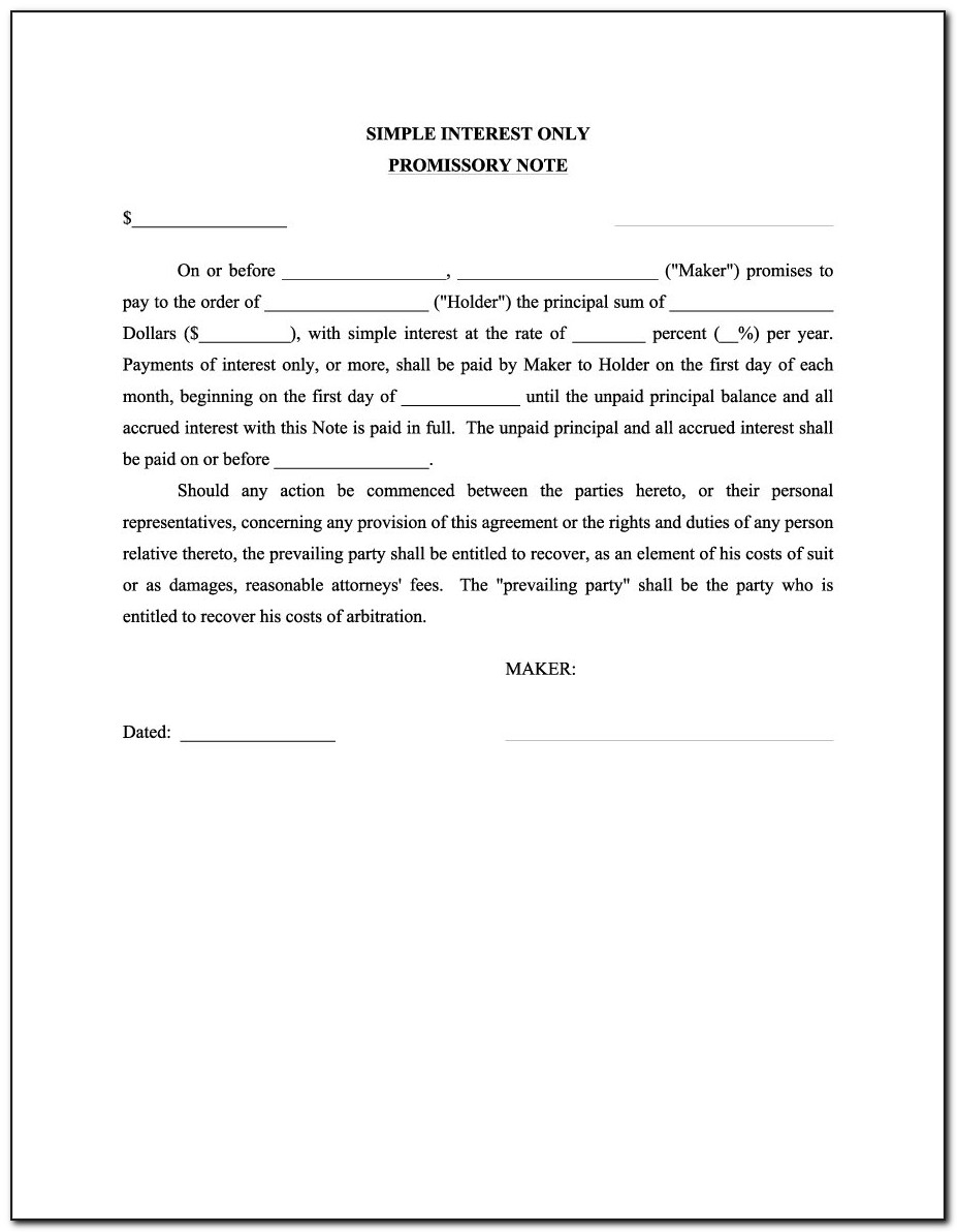 Template Unsecured Promissory Note