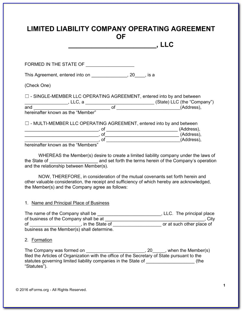 Templates For Llc Operating Agreement