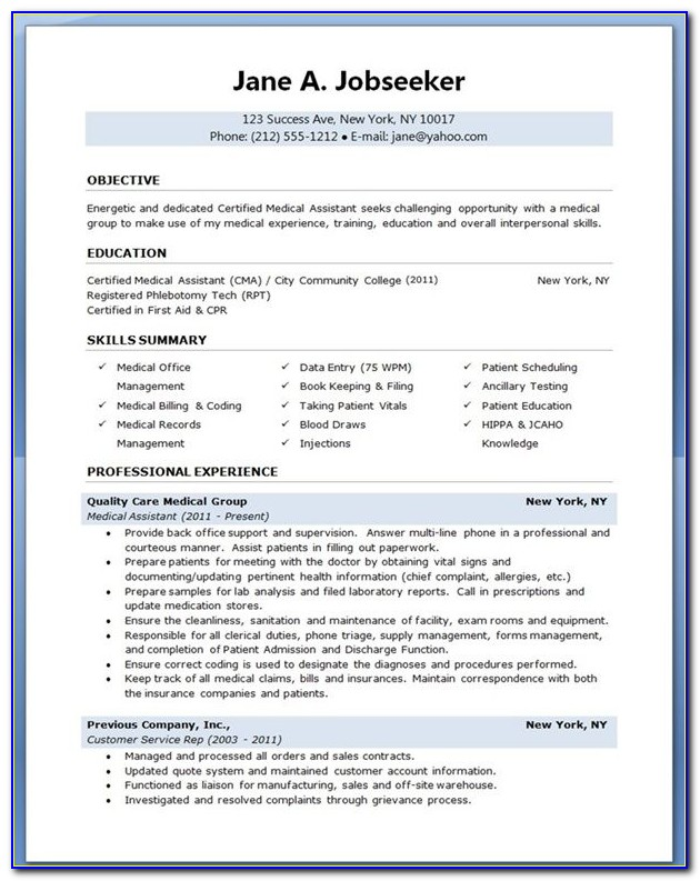 Templates For Medical Assistant Resumes
