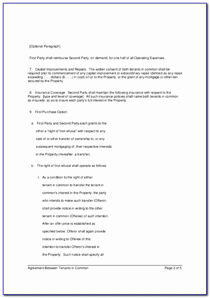 Agreement Between Tenants In Mon Only 2 Of 5 Pages Hashdoc Sample Tenants In Common Agreement Template Elegant Pdf Word Excel Download Templates Ooeri