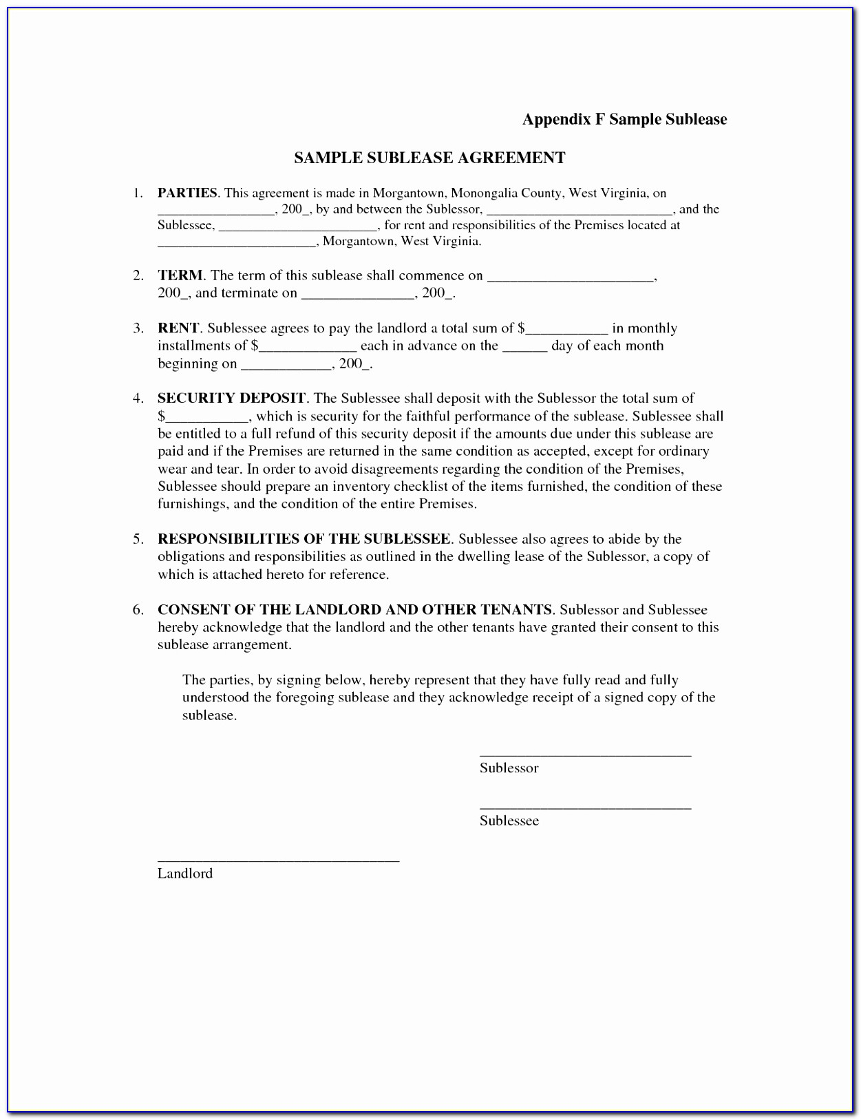Appendix F Sample Sublease Sample Sublease Agreement Parties This Example Tenants In Common Agreement Template Lovely Pdf Word Excel Template Atrau