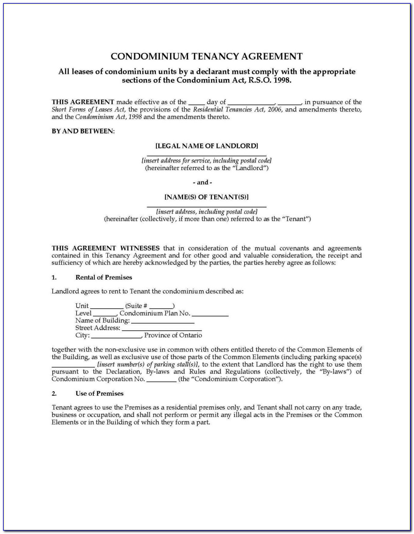 Tenants In Common Agreement Template